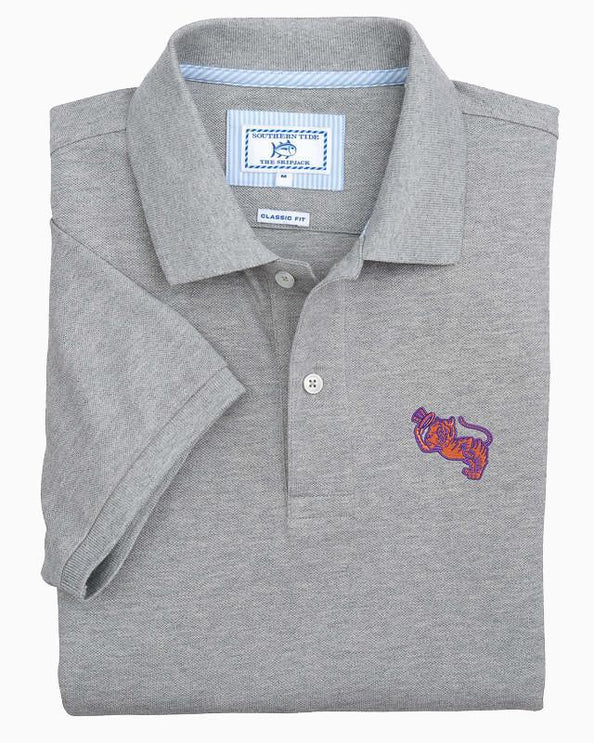 Retro Clemson Tigers Grey Cotton Polo Shirt