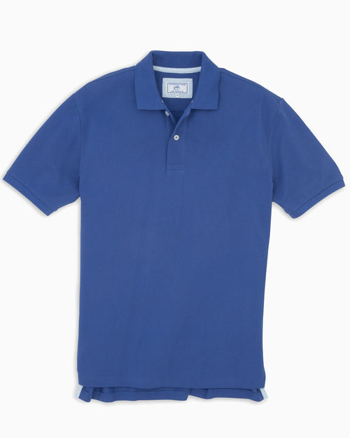The front view of the Men's Light Blue Skipjack Gameday Colors Polo Shirt by Southern Tide