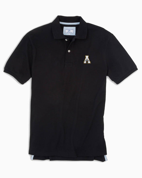 The front view of the Men's Black App State Pique Polo Shirt by Southern Tide