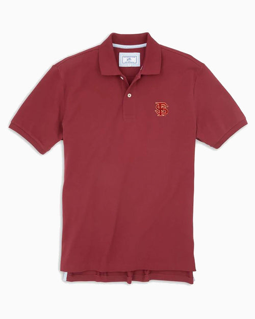 The front view of the Men's Red FSU Seminoles Pique Polo Shirt by Southern Tide