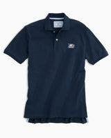 The front view of the Men's Navy Georgia Southern Pique Polo Shirt by Southern Tide