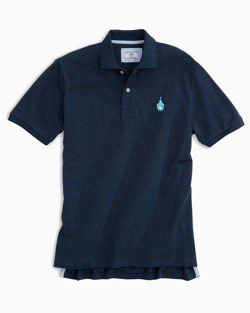 The front view of the Men's Navy Citadel Bulldogs Pique Polo Shirt by Southern Tide