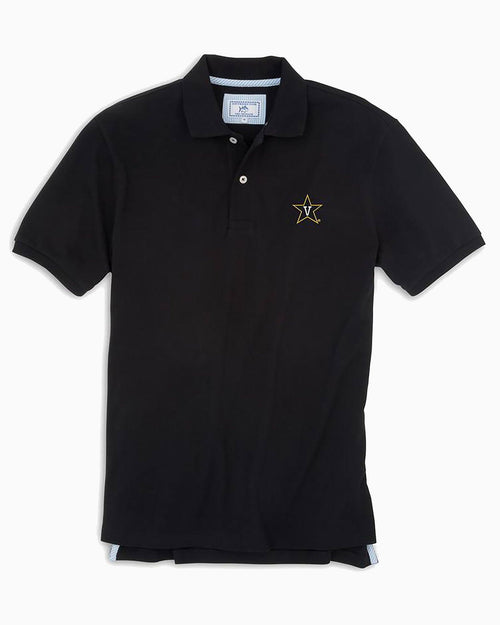 The front view of the Men's Black Vanderbilt Pique Polo Shirt by Southern Tide