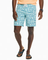 The front view of the Men's Blue Gator Frenzy Swim Short by Southern Tide