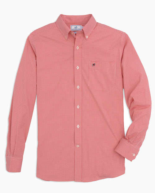 The front view of the Men's Red Georgia Bulldogs Gingham Button Down Shirt by Southern Tide