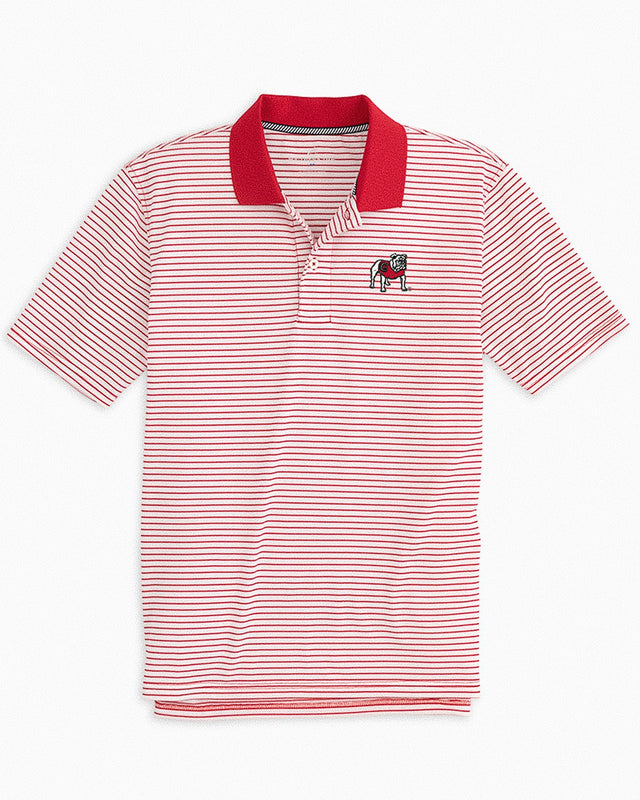 Georgia Bulldogs Pique Striped Polo Shirt | Southern Tide