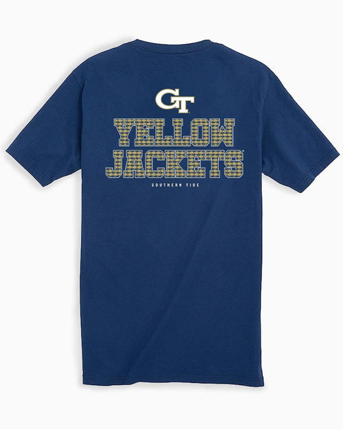 The back view of the Men's Navy Georgia Tech Chant Short Sleeve T-Shirt by Southern Tide
