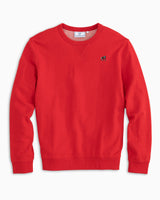 The front view of the Men's Red Georgia Upper Deck Pullover Sweatshirt by Southern Tide