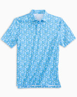 The front view of the Men's Blue Gin & Tonic Driver Performance Polo Shirt by Southern Tide