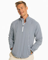 The front view of the Men's Blue Gingham Intercoastal Quarter Zip Pullover by Southern Tide