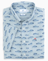 The front view of the Men's Grey Gyorui Fish Print Short Sleeve Button Down Shirt by Southern Tide