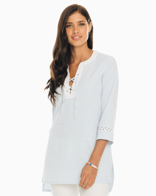 The front of the Women's Hailey Performance Seersucker Tunic by Southern Tide