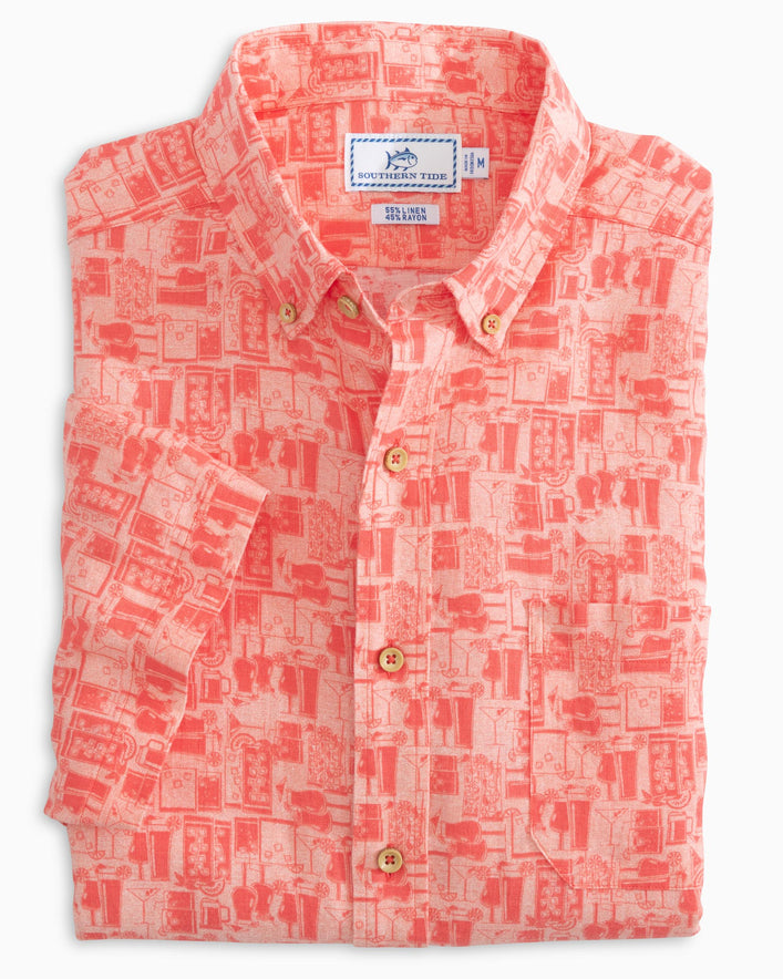 Happy Hour Short Sleeve Button Down Shirt