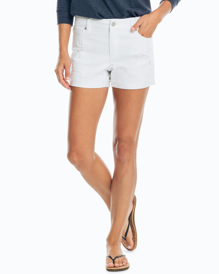 Hayes Distressed White Denim Short