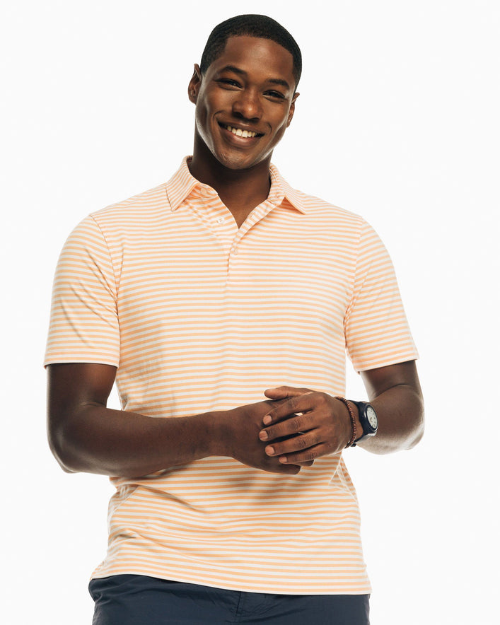 Ryder Heathered Striped Performance Polo Shirt