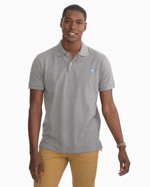 The front view of the Men's Grey Skipjack Heathered Polo Shirt by Southern Tide
