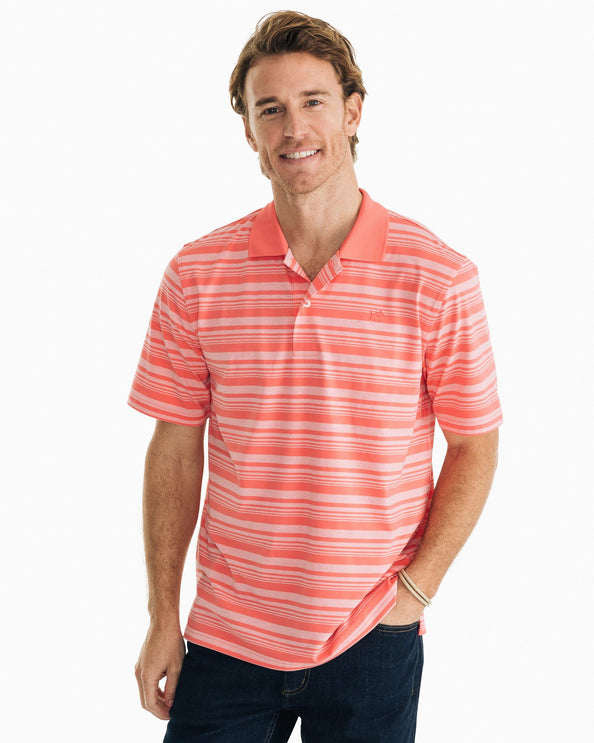Heathered Stripe Driver Performance Polo