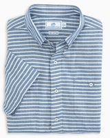 The folded view of the Men's Blue Herringbone Stripe Short Sleeve Button Down Shirt by Southern Tide