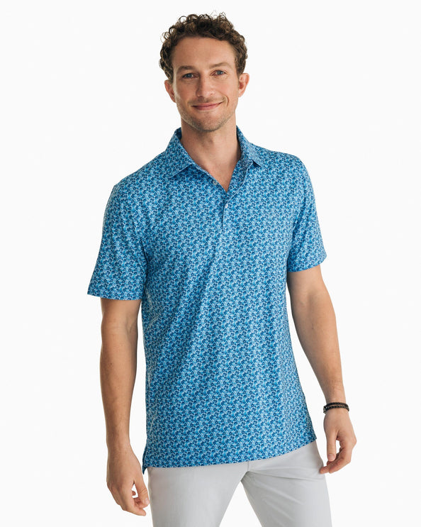 Hibiscus Print Driver Performance Polo Shirt