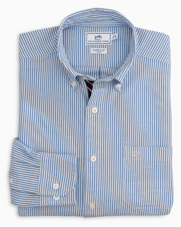 Icy Striped Stretch Oxford Button Down Shirt