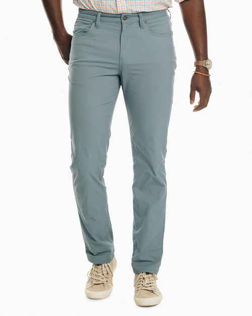 The front view of the Men's Blue Intercoastal Performance Pant by Southern Tide