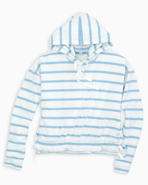 The front view of the Women's Light Blue Josey Lightweight French Terry Hoodie by Southern Tide