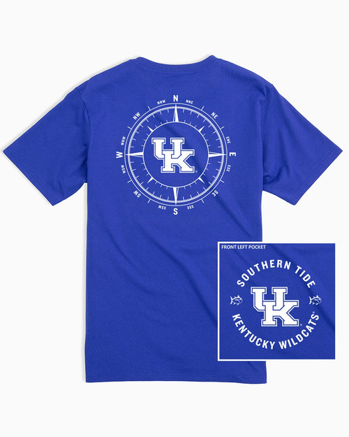 The back view and pocket detail of the Men's Light Blue Kentucky Wildcats Compass T-Shirt by Southern Tide
