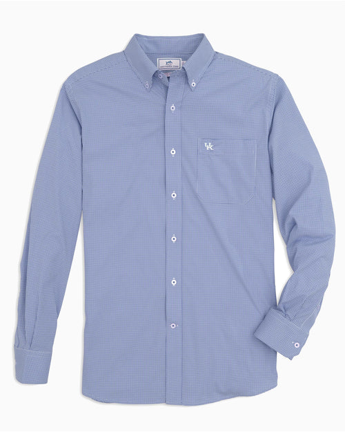 The front view of the Men's Light Blue Kentucky Wildcats Gingham Button Down Shirt by Southern Tide