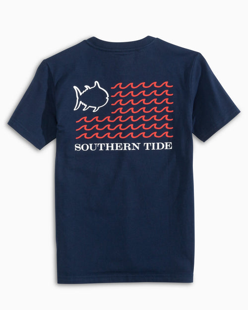 The back view of the Kid's Navy American Flag Wave T-Shirt by Southern Tide