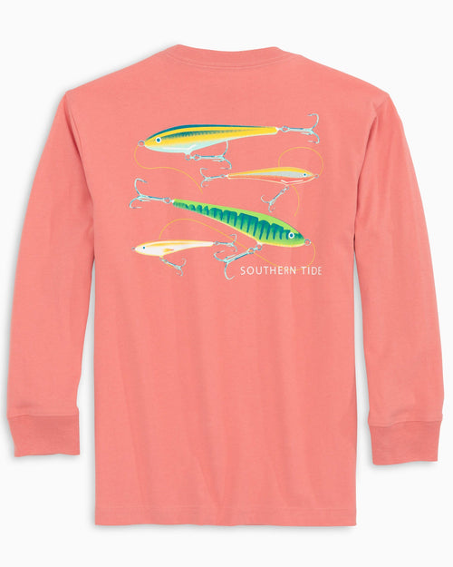 The back view of the Kid's Orange Flying Lures Long Sleeve T-Shirt by Southern Tide
