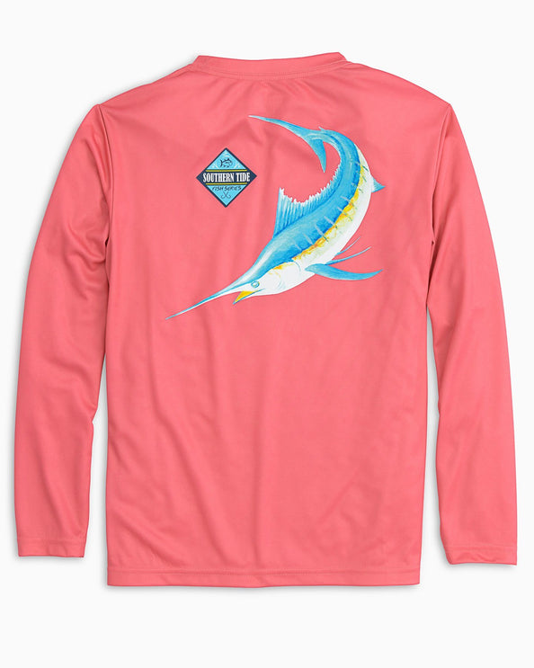 Kids Long Sleeve Blue Fish Performance T-shirt