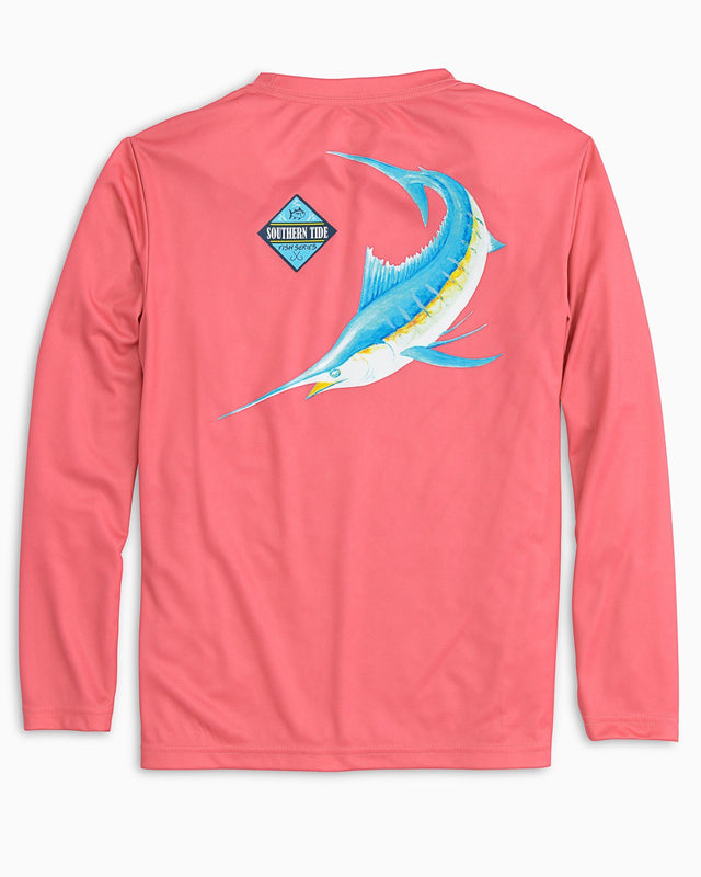 Kids Long Sleeve Blue Fish Performance T-shirt | Southern Tide