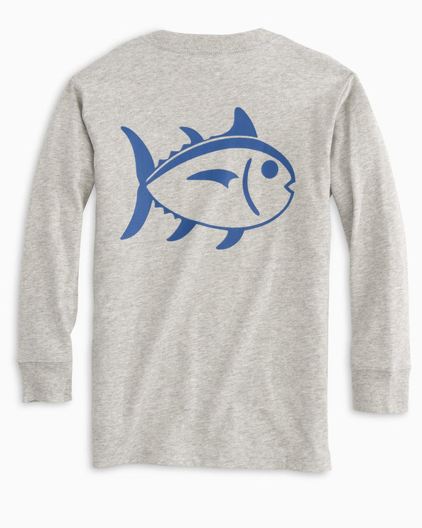 Kids Long Sleeve Heather Outline Skipjack T-Shirt