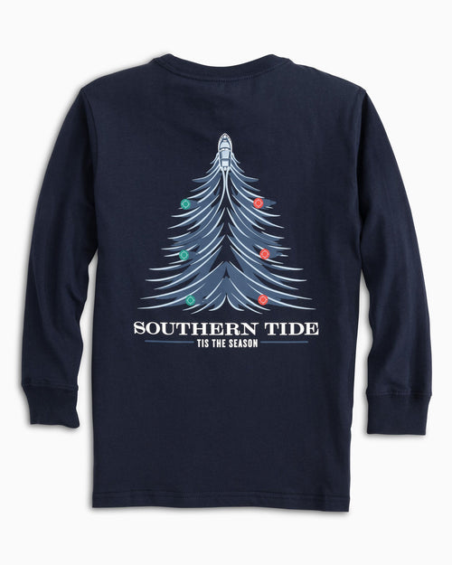 Kids Long Sleeve Holiday Waves T-Shirt | Southern Tide