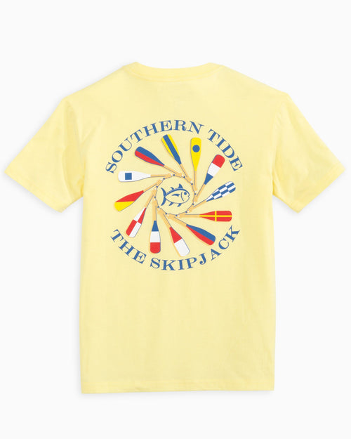 The back view of the Kid's Yellow Oar Spiral T-Shirt by Southern Tide