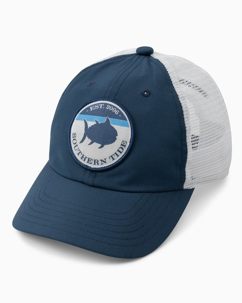 The front view of the Kids On Par Performance Trucker Hat by Southern Tide
