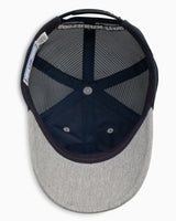 The front view of the Kid's Grey Skipjack Net Patch Trucker Hat by Southern Tide