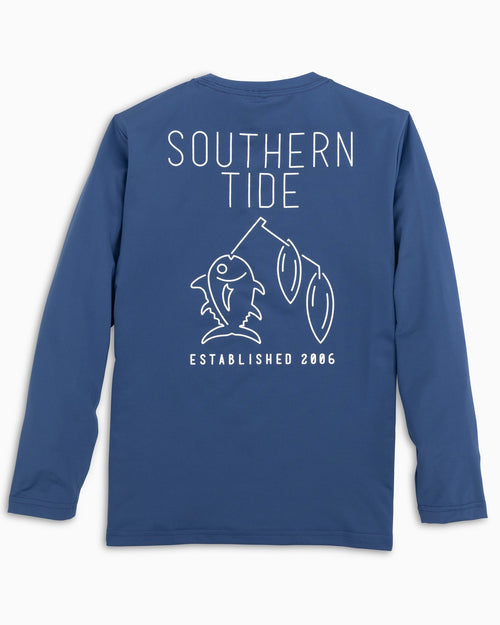 The back of the Kids Spinner Lure Longe Sleeve Performance T-Shirt by Southern Tide