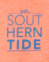 The back view of the Kid's Orange Stack ST Ocean Waves T-Shirt by Southern Tide