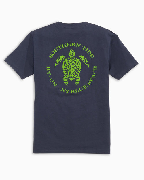 The back view of the Kid's Navy Turtle T-Shirt by Southern Tide