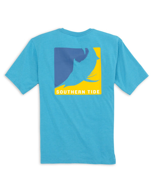The back view of the Men's Blue Knock Out Series Marlin T-Shirt by Southern Tide