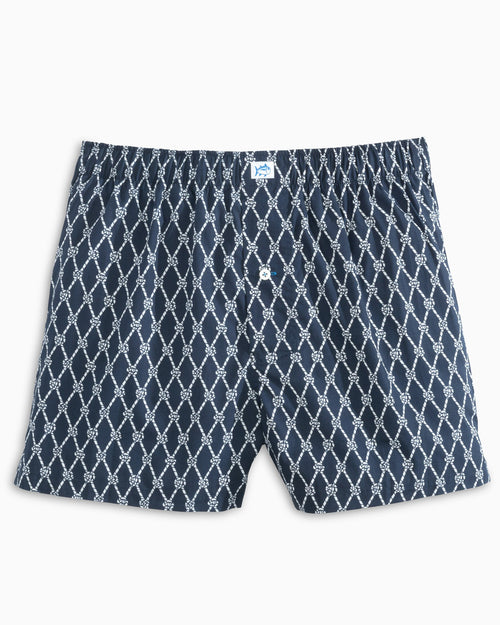 The front view of the Men's Navy Knot 2 Bad Boxer by Southern Tide