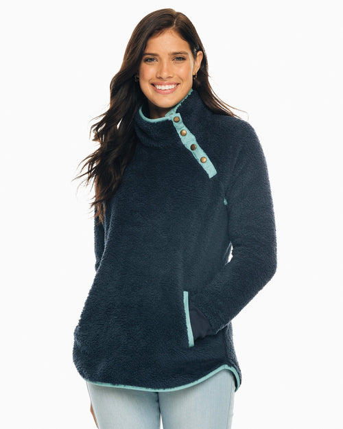 The front view of the Women's Navy Laura Sherpa Fleece Pullover by Southern Tide