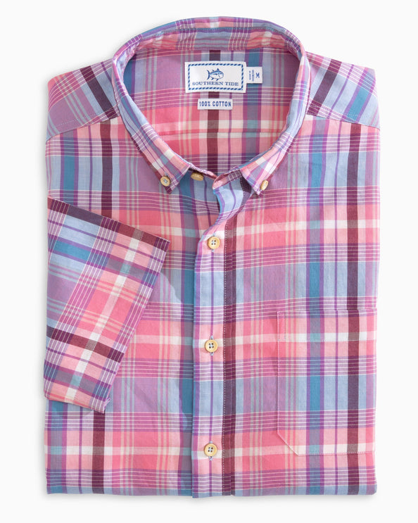 Leeward Madras Short Sleeve Button Down Shirt
