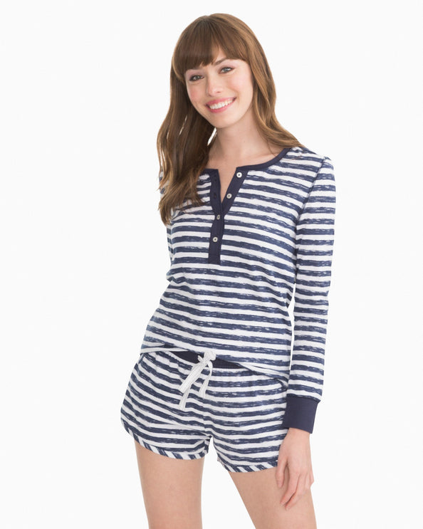 Letti Striped Sleep Top