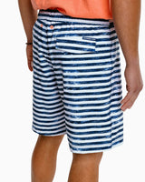 The front of the Men's Lisi Stripe Swim Trunk by Southern Tide