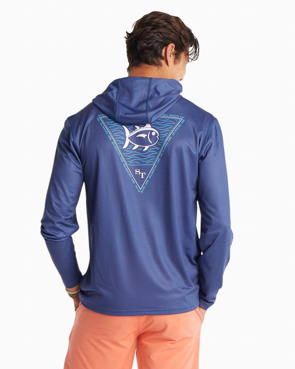 Long Sleeve Skipjack Waves Performance Hoodie T-Shirt