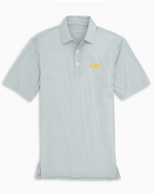 The back view and pocket detail of the Men's Grey LSU Tigers BRRR® Striped Polo Shirt by Southern Tide