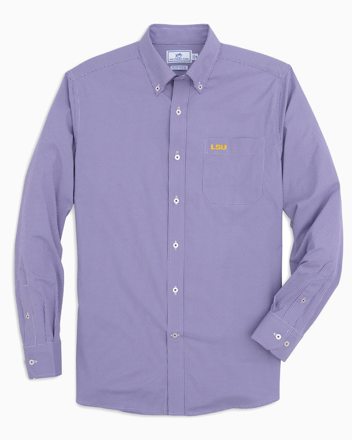 LSU Tigers Gingham Button Down Shirt