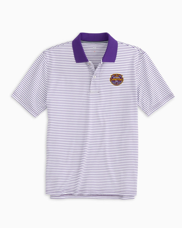 LSU Tigers National Champions Pique Striped Polo Shirt